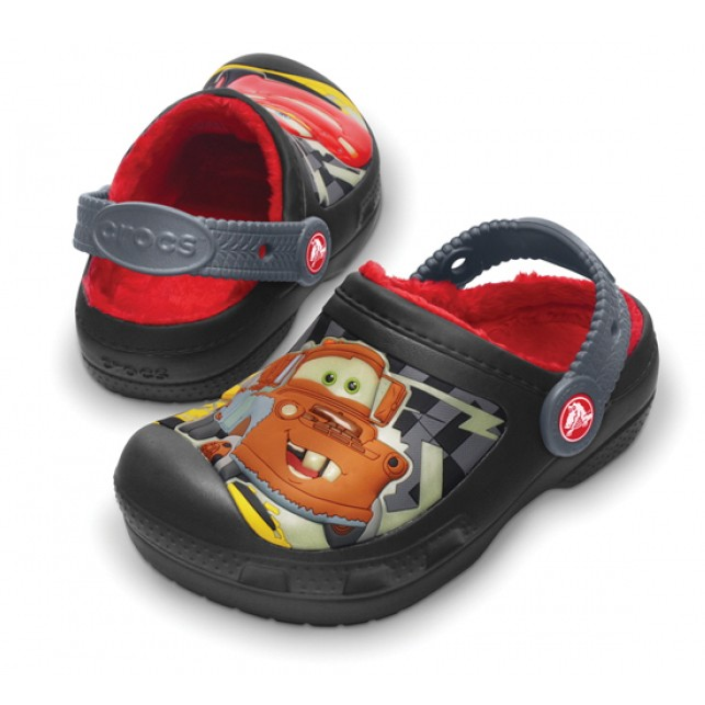 Crocs cars glow-in-the-dark lined clog black/charcoal