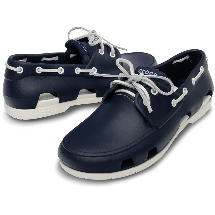 1cdd67e05 CROCS Beach Line Boat Shoe Men Navy White