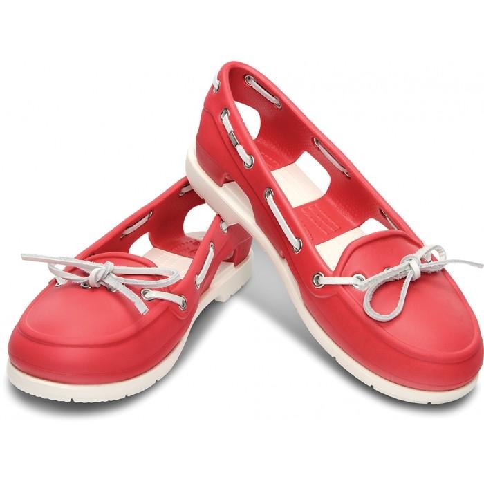 d4a789d5d8ce4d CROCS Beach Line Boat Shoe Women Red White. Beach Line Boat Shoe Women