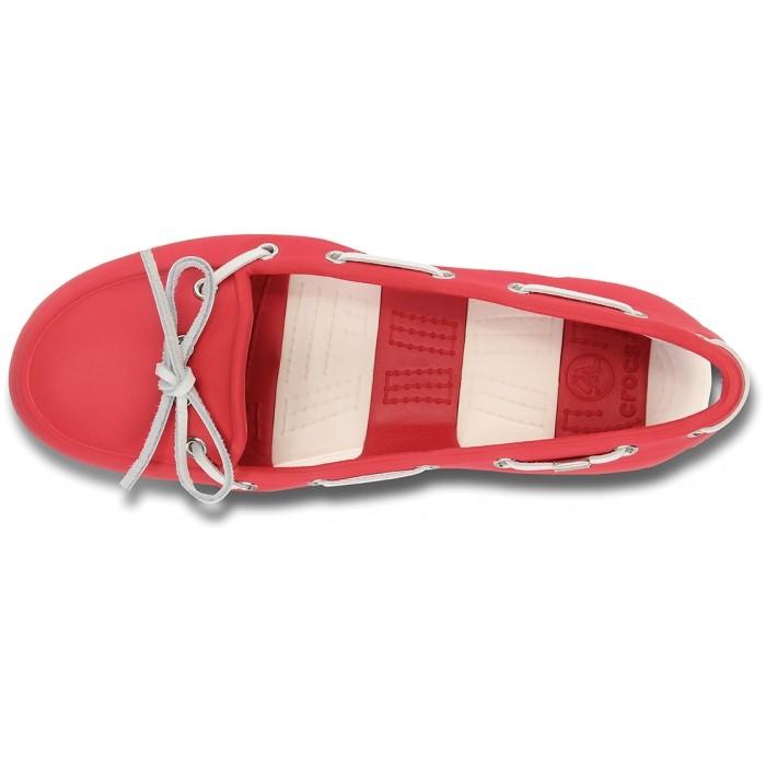 0424180ff3a533 CROCS Beach Line Boat Shoe Women Red White
