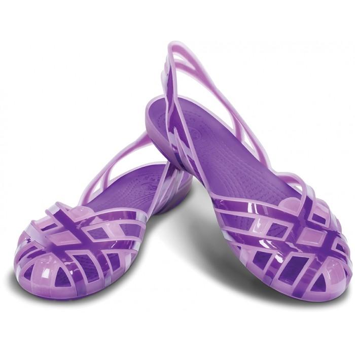 efeb7cdba237 CROCS Huarache Slingback Flat Girls Iris Neon Purple
