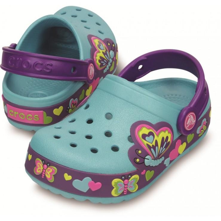 ff3828f30 CROCS CrocsLights Butterfly Clog Aqua Neon Purple. CrocsLights Butterfly  Clog