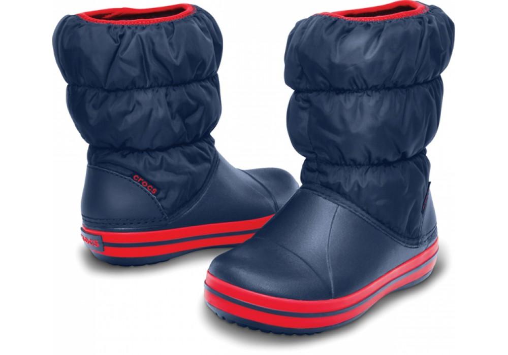 7ae166e4a0d CROCS Winter Puff Boot Kids Navy Red