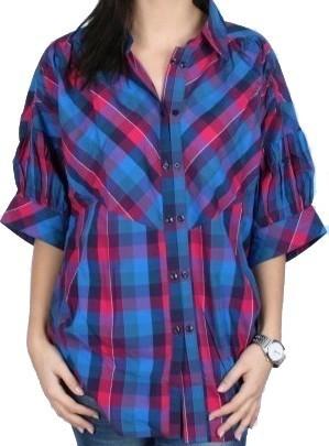 W 3/4 Sl Shirt pink/pur/royalturq